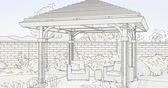 4k Custom Pergola Drawing Transitioning to Photograph.