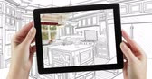 4k Looping Cinemagraph of Computer Tablet With Kitchen Design Drawing Transitioning to Photo