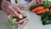 fertiliser : Kitchen compost food waste caddy. Peelings and food scraps ready for the compost bin Stock Footage