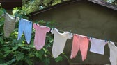backyard : Childrens clothes drying on the clothesline. Baby wear outdoor in garden