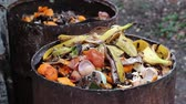 podridão : Kitchen Scraps. Home compost barrel. Sorting out composting
