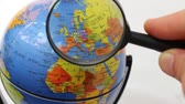 maquette : Europe - World Map Element Through A Magnifying Glass Stock Footage