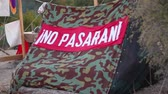 objection : No pasaran! Nationalistic Slogan on the tent. Spanish Civil War. They shall not pass