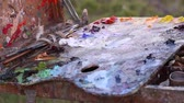 oleoso : Palette With Oil Paints. Outdoors. Plein Air Painting. Easel with built-in paint box and palette. Paints in tubes, paint brushes