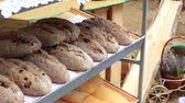 bakkaliye : Loaves of Organic Bread for sale at outdoor farmers market. Selling at open air farmers markets. Lavender and honey bread. The Street Fair and the farms