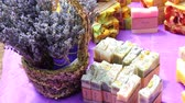 french street : Soap And Personal Care Items Produced From Lavender. Lavender Festival Street Fair. The ancient and modern uses of lavender - hydrating oils, lotions and soaps