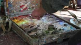color image : Artist Mixes Oil Paints On A Palette Stock Footage