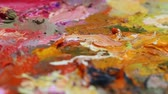 vajas : Oil Painting Palette Close Up. Rack Focus