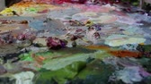 smear : Oil Painting Palette Close Up. Rack Focus