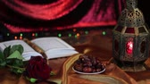 brunei : Koran - holy book of Muslims. Lantern and dates. Ramadan kareem with Holy Quran