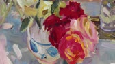 galeria : Close up of mans hand painting still life picture on canvas in art studio. Etude with oil paints