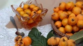 kıbrıs : Loquat Fruits and Jam Stok Video