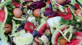 fertiliser : Vegetable kitchen scraps such as peels, skins, stalks. Sorting waste. Recycle kitchen scraps Stock Footage