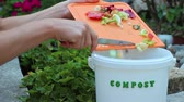 veg : Organic waste for fruits and vegetables. Household garbage, recycling and composting. Environment concept Stock Footage