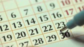 eventos : 30th – thirtieth day of the month. The man crossed out the calendar date with a black marker. Business Basics Wall Calendar Planner and Organizer Archivo de Video