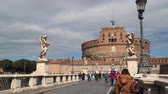 melek : Rome, Italy - March 21, 2018: Ponte SantAngelo, Rome. Castel Sant Angelo Stok Video