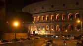 flavian : Rome, Italy - March 21, 2018: Colosseum in Rome at night Stock Footage