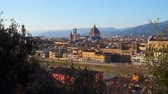 toszkána : Florence at sunset. View of Florence from Piazzale Michelangelo. Stock mozgókép