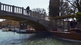Венеция : Venice, Italy - March 23, 2018: View from the floating boat on the Grand Canal in Venice Стоковые видеозаписи