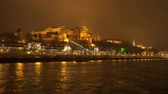 Buda Castle is the historical castle and palace of the Hungarian kings in Budapest. View from the ship at night