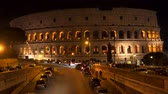 koloseum : Rome, Italy - March 22, 2018: Illumination of the Colosseum at night