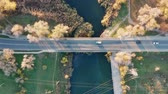 l air : Bridge over river. Video birds eye view