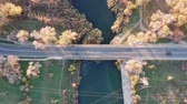ストリート : Bridge over river Aerial view 動画素材