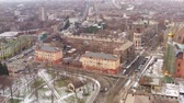 yol : Aerial view of the winter provincial town. Mariupol Ukraine Stok Video