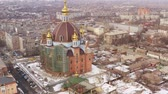 taşra : Of the city of Mariupol. The largest temple in Mariupol Ukraine. Winter time. Aerial view
