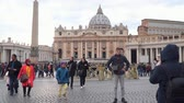 pope : Vatican City State - March 22, 2018: Tourists on St. Peters square in the vatican