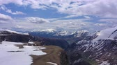 skalní útes : Aerial view. Caucasus Mountains. Mountains covered with snow