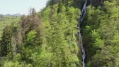 Waterfall in the mountains. Aerial view. Wideo