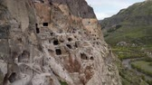 The city of Vardzia, carved into the rocks at 1300 meters above Georgia level. Wideo