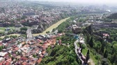 Tbilisi city. Aerial view. Fortress Narikala, the Kura River. Wideo
