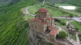 ジョージアン : Jvari Church: Beautiful sixth century Georgian Orthodox monastery. Aerial view 動画素材