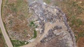above fire : Environmental pollution. Burning landfill. Aerial view