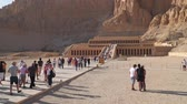 hieroglyf : Luxor, Egypt - January 16, 2020: The Mortuary Temple of Hatshepsut, is a mortuary temple of Ancient Egypt located in Upper Egypt. Dostupné videozáznamy