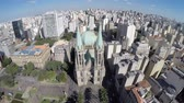vista : Aerial view of Se Cathedral in Sao Paulo, Brazi Vídeos