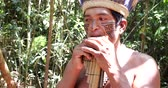flauta : Native Brazilian playing wooden flute at an indigenous tribe in the Amazon Vídeos
