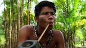 domorodý : Indigenous man from Tupi Guarani tribe smoking pipes in the forest, Brazil