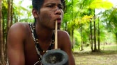 Indigenous man from Tupi Guarani tribe smoking pipes in the forest, Brazil