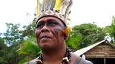 domorodý : Indigenous man from Tupi Guarani tribe in the forest, Brazil