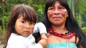 guarani : Native mother and baby from Tupi Guarani Tribe, Brazil Stock Footage