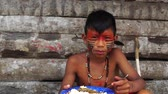 Brazilian native boy from Tupi Guarani Tribe, Brazil Stok Video