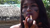 domorodý : Indigenous woman from Tupi Guarani tribe smoking pipes in the forest, Brazil