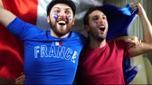 torcendo : France fans cheering Stock Footage
