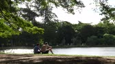 SAO PAULO, BRAZIL - CIRCA FEB 2017: Beautiful day in Ibirapuera Park in Sao Paulo, Brazil Stok Video
