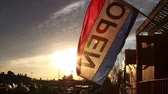 duyurmak : 0826 Open Flag at Sunset, Slow Motion.mov Stok Video