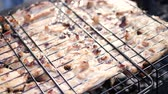 basting : Meat barbecue cooked on the grill, on the grill Stock Footage