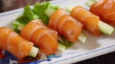 にぎり : Japanese food: Salmon sashimi on table. Clean food concept. Selective focus and free space for text.